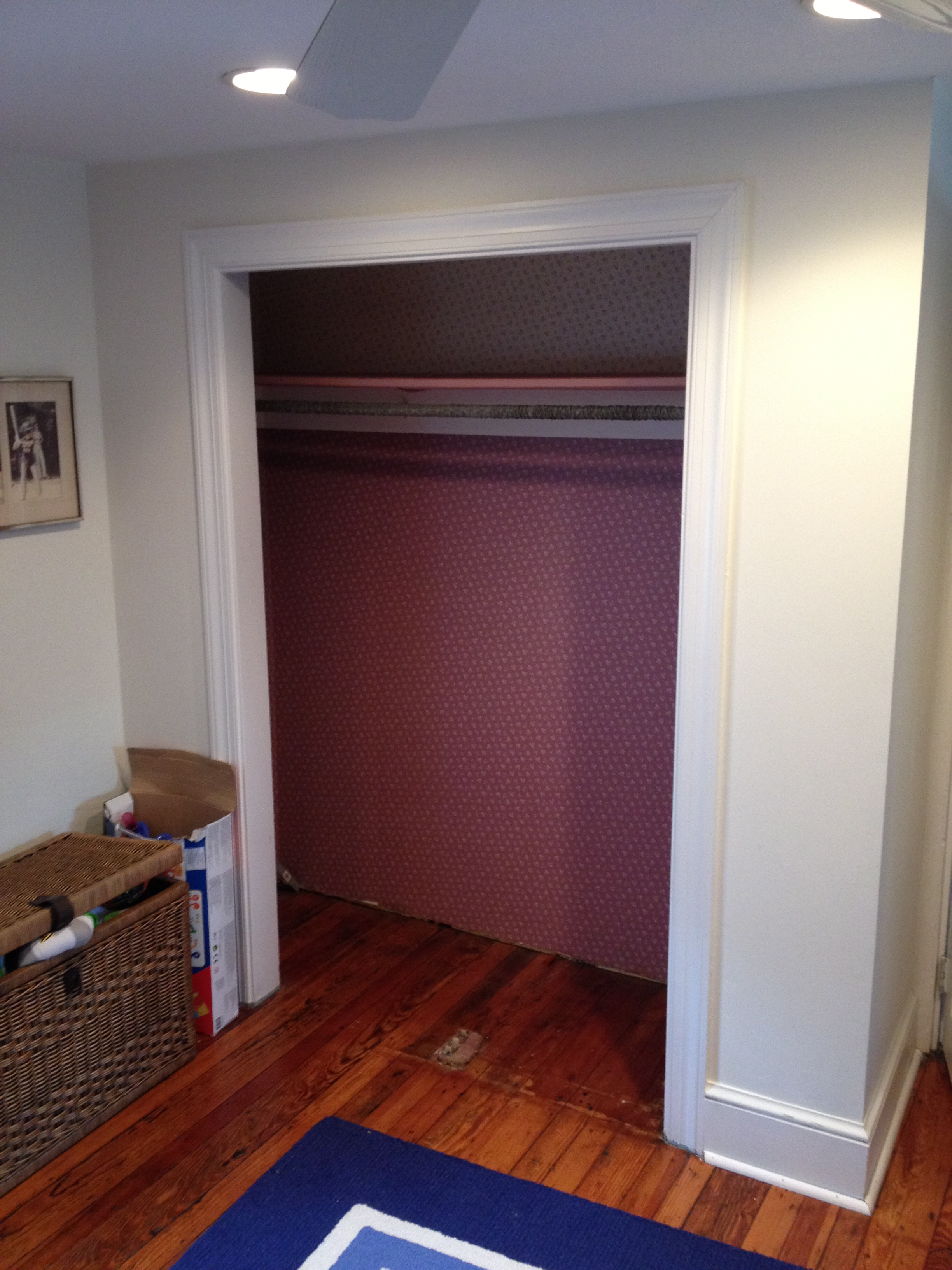After The Sliding Doors Were Removed The Next Step Was To Remove The  Wallpaper From The