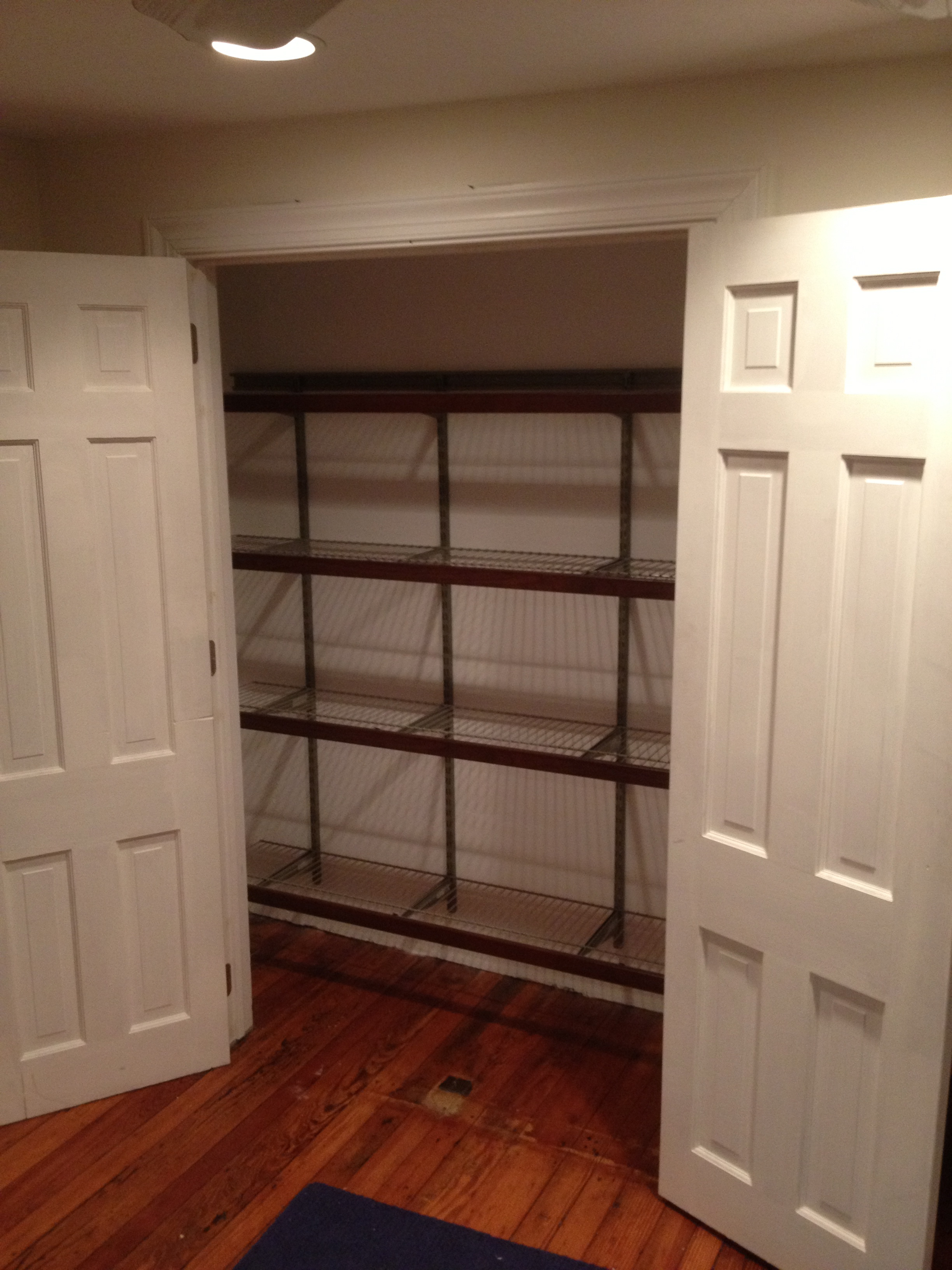 Before The Shelving Unit Was Installed I Cut Two Sets On Hinges Into Jamb Of