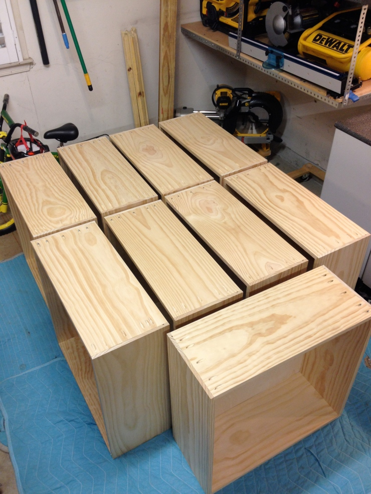 All 9 drawer boxes fully assembled and ready for transport to the refinisher.