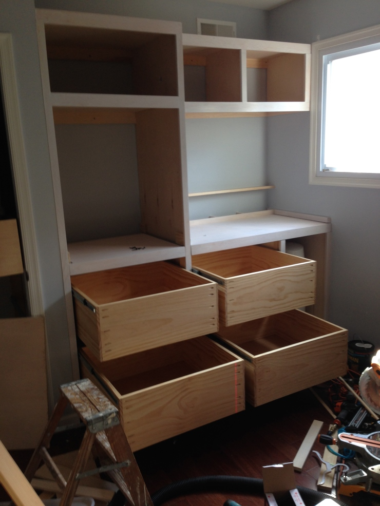 Another picture of all that storage. That's only 4 of the 9 drawer boxes that were build. The drawer faces were built and later installed by the client.