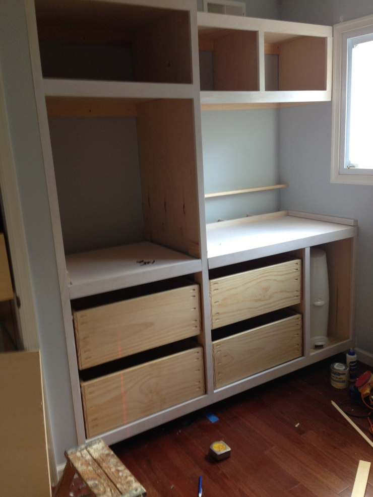 About a week and a half later the drawer boxes were finished in clear coat, picked up by my client and installed. This is what the client built to accept the drawer boxes.