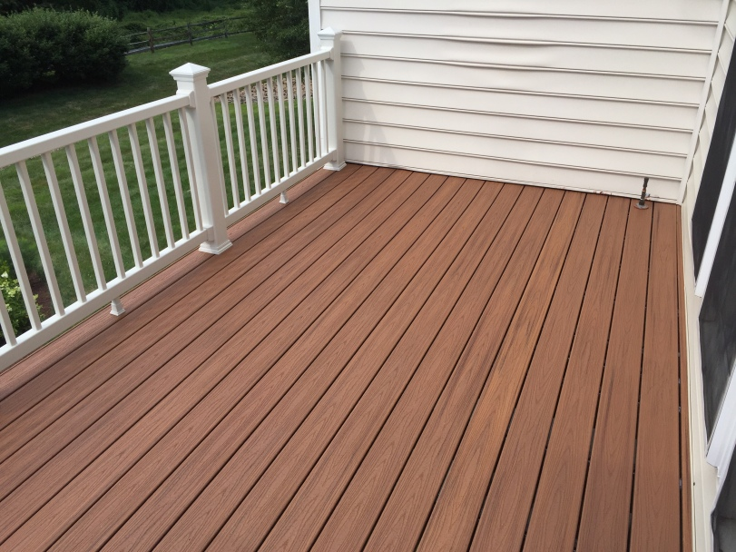 The decking laid and new railing installed.